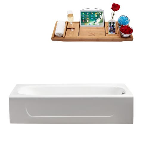 """60"""" Cast Iron R5480CH Soaking Alcove Tub and Tray with Internal Drain"""
