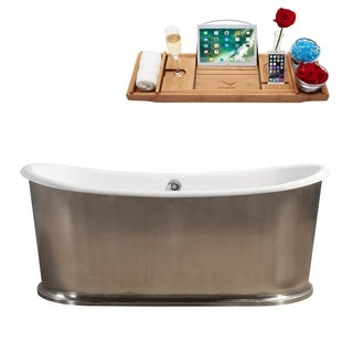 """72"""" Cast Iron R5360CH Soaking Freestanding Tub with External Drain"""