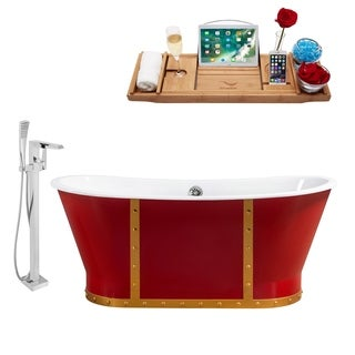 """Cast Iron Tub, Faucet and Tray Set 67"""" RH5043CH-100"""