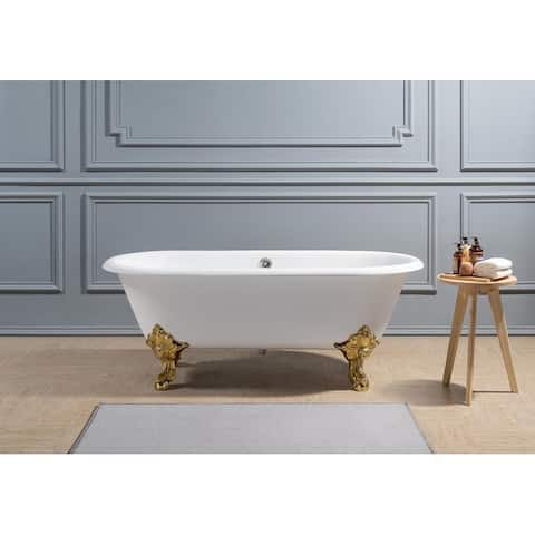 "69"" Cast Iron R5001GLD-CH Soaking Clawfoot Tub with External Drain"