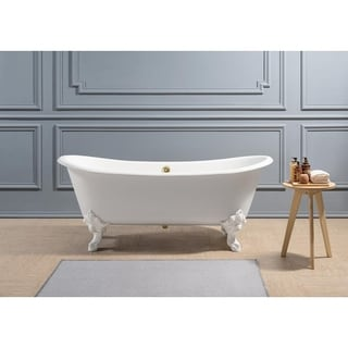 "72"" Cast Iron R5020WH-GLD Soaking Clawfoot Tub with External Drain"