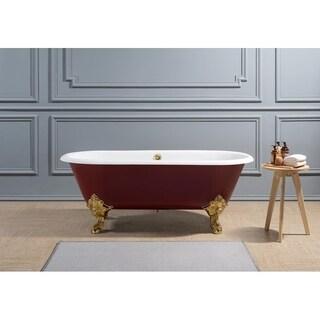 "69"" Cast Iron R5000GLD-GLD Soaking Clawfoot Tub with External Drain"