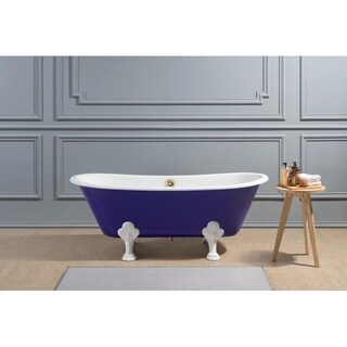 """67"""" Cast Iron R5060WH-GLD Soaking Clawfoot Tub with External Drain"""