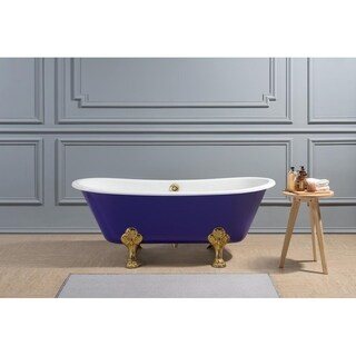 "67"" Cast Iron R5060GLD-GLD Soaking Clawfoot Tub with External Drain"