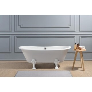 """67"""" Cast Iron R5061WH-CH Soaking Clawfoot Tub with External Drain"""