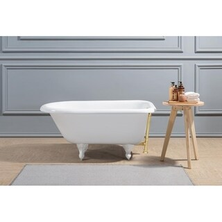 """48"""" Cast Iron R5101WH-GLD Soaking Clawfoot Tub with External Drain"""