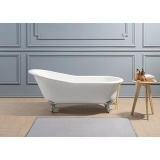 "67"" Cast Iron R5220CH-GLD Soaking Clawfoot Tub with External Drain"