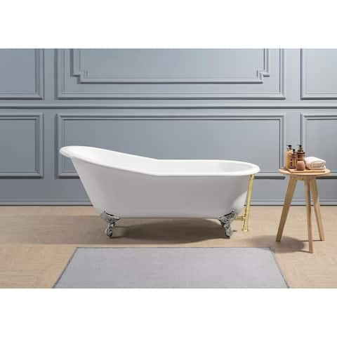 "61"" Cast Iron R5221CH-GLD Soaking Clawfoot Tub with External Drain"