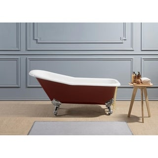 "66"" Cast Iron R5280CH-GLD Soaking Clawfoot Tub with External Drain"