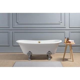 "67"" Cast Iron R5061CH-GLD Soaking Clawfoot Tub with External Drain - Purple"
