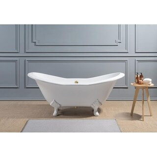 """61"""" Cast Iron R5163WH-GLD Soaking Clawfoot Tub with External Drain"""