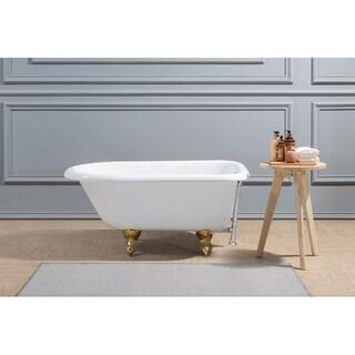 "48"" Cast Iron R5101GLD-CH Soaking Clawfoot Tub with External Drain"
