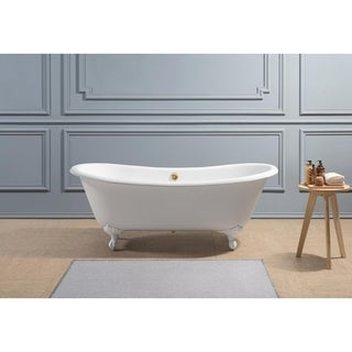 "71"" Cast Iron R5240WH-GLD Soaking Clawfoot Tub with External Drain"