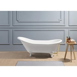 "67"" Cast Iron R5420WH-GLD Soaking Clawfoot Tub with External Drain"