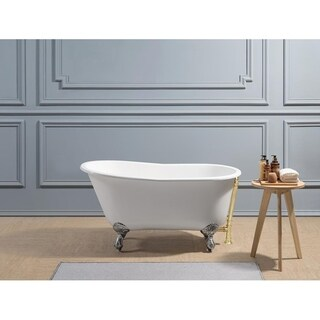 "53"" Cast Iron R5460CH-GLD Soaking Clawfoot Tub with External Drain"