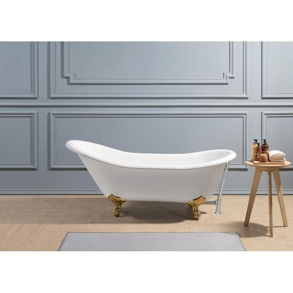 "67"" Cast Iron R5420GLD-CH Soaking Clawfoot Tub with External Drain"