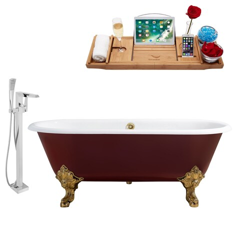 """Cast Iron Tub, Faucet and Tray Set 69"""" RH5000GLD-GLD-100"""