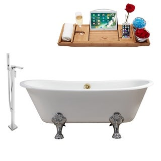 """Faucet and Cast Iron Tub Set 67"""" RH5061CH-GLD-140"""