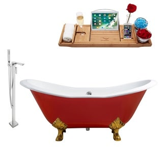 """Faucet and Cast Iron Tub Set 61"""" RH5161GLD-CH-140"""
