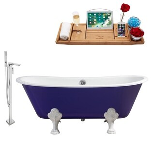 """Faucet and Cast Iron Tub Set 67"""" RH5060WH-CH-140"""