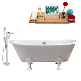 """Faucet and Cast Iron Tub Set 67"""" RH5061WH-GLD-100"""