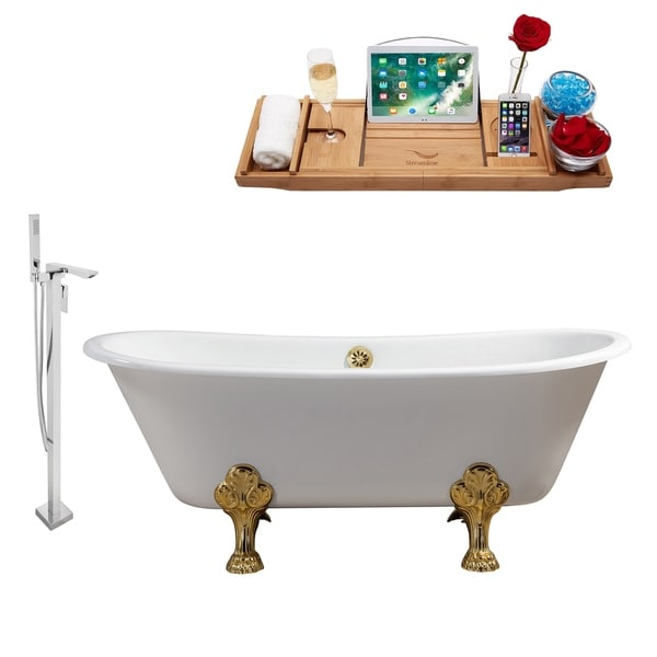 """Cast Iron Tub, Faucet and Tray Set 67"""" RH5061GLD-GLD-140"""