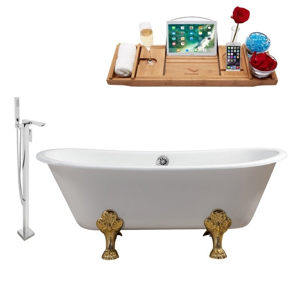 "Cast Iron Tub, Faucet and Tray Set 67"" RH5061GLD-CH-140"