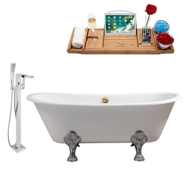 """Cast Iron Tub, Faucet and Tray Set 67"""" RH5061CH-GLD-100"""