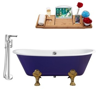 """Faucet and Cast Iron Tub Set 67"""" RH5060GLD-CH-120"""