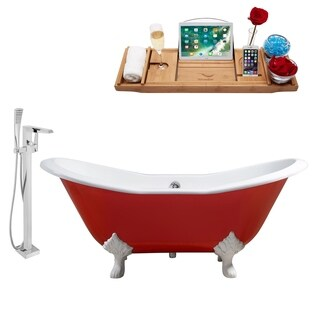 """Faucet and Cast Iron Tub Set 72"""" RH5160WH-CH-100"""
