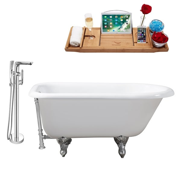 """Cast Iron Tub, Faucet and Tray Set 48"""" RH5101CH-CH-120"""