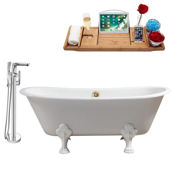 """Cast Iron Tub, Faucet and Tray Set 67"""" RH5061WH-GLD-120"""