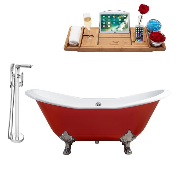 """Cast Iron Tub, Faucet and Tray Set 61"""" RH5161CH-CH-120"""