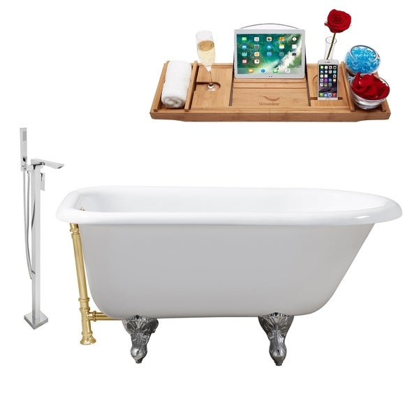 """Cast Iron Tub, Faucet and Tray Set 48"""" RH5101CH-GLD-140"""