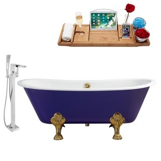 """Faucet and Cast Iron Tub Set 67"""" RH5060GLD-GLD-100"""