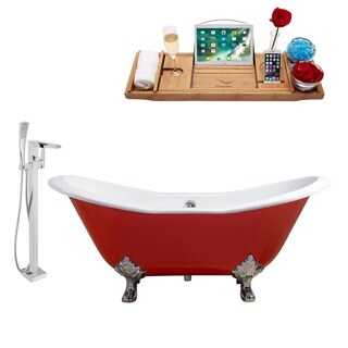 """Faucet and Cast Iron Tub Set 61"""" RH5161CH-CH-100"""