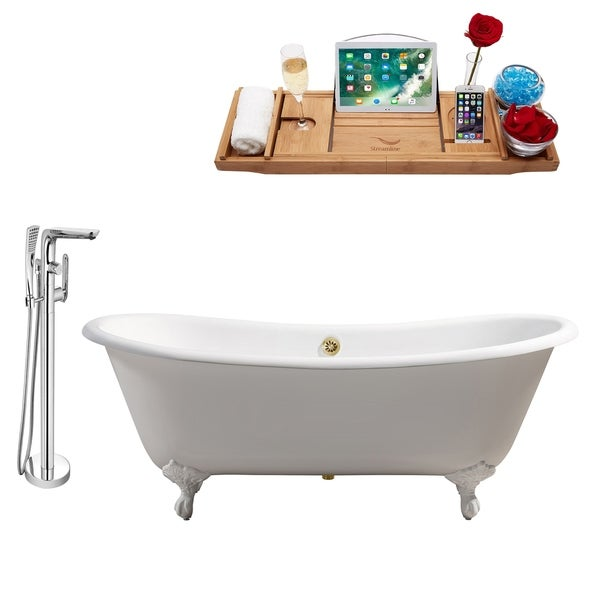 """Cast Iron Tub, Faucet and Tray Set 71"""" RH5240WH-GLD-120"""