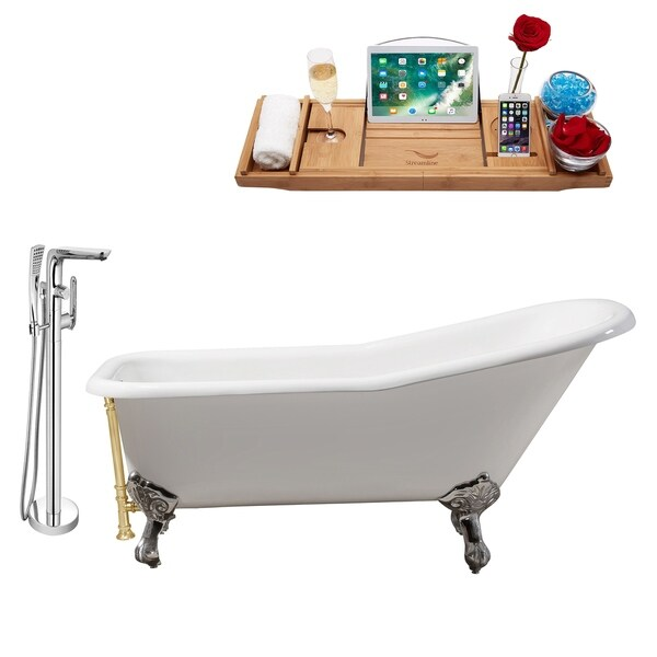 """Faucet and Cast Iron Tub Set 66"""" RH5281CH-GLD-120"""