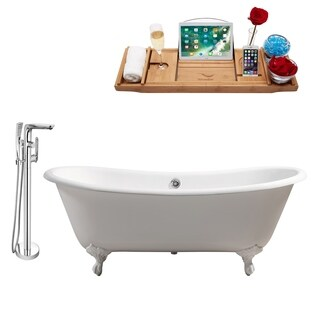 """Cast Iron Tub, Faucet and Tray Set 71"""" RH5240WH-CH-120"""