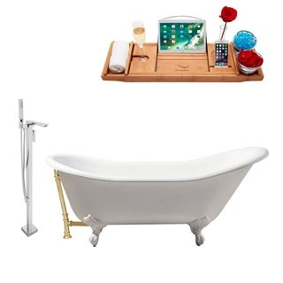 "Cast Iron Tub, Faucet and Tray Set 67"" RH5420WH-GLD-140"