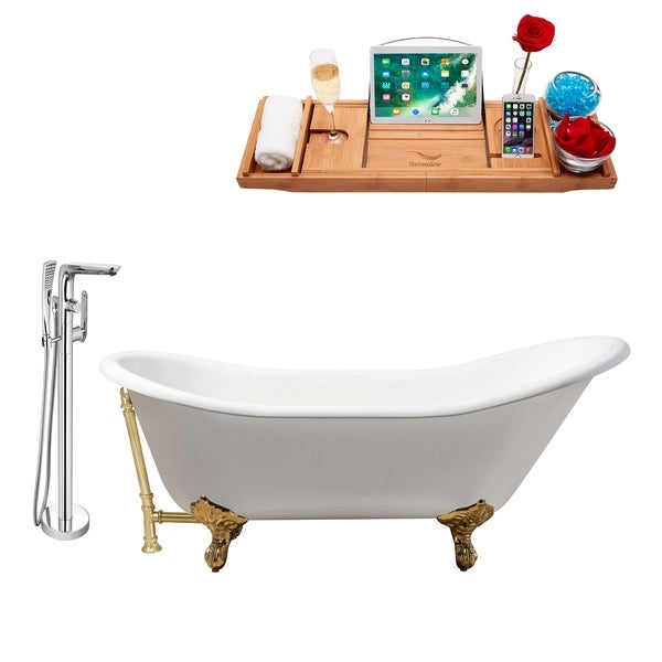 """Cast Iron Tub, Faucet and Tray Set 67"""" RH5420GLD-GLD-120"""