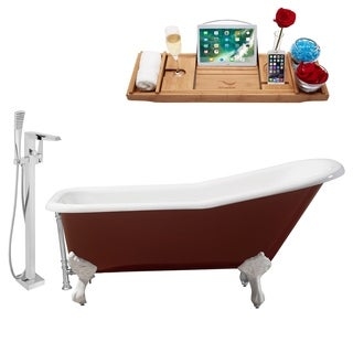 """Faucet and Cast Iron Tub Set 66"""" RH5280WH-CH-100"""