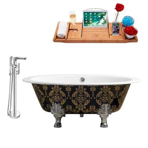 """Cast Iron Tub, Faucet and Tray Set 65"""" RH5440CH-CH-120"""