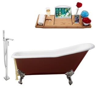 """Faucet and Cast Iron Tub Set 66"""" RH5280CH-GLD-140"""