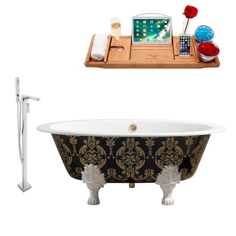 """Cast Iron Tub, Faucet and Tray Set 65"""" RH5440WH-GLD-140"""