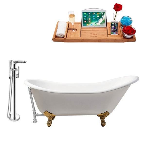 """Cast Iron Tub, Faucet and Tray Set 67"""" RH5420GLD-CH-120"""