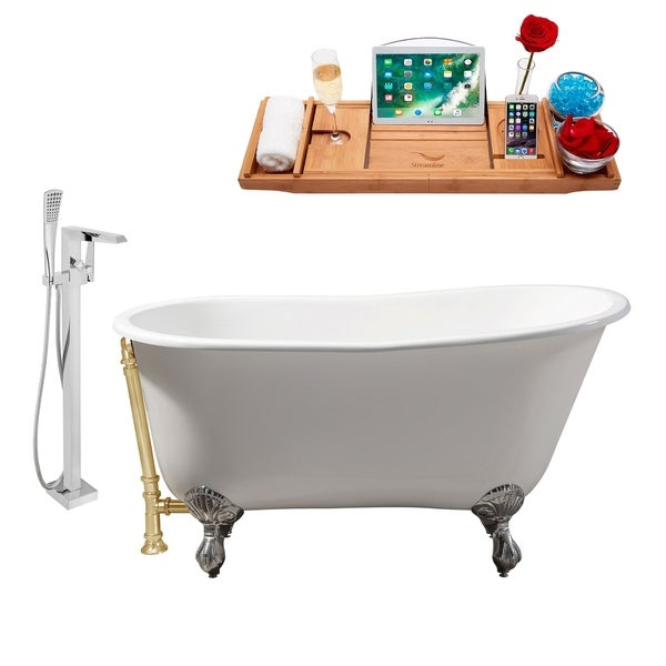 """Cast Iron Tub, Faucet and Tray Set 53"""" RH5460CH-GLD-100"""