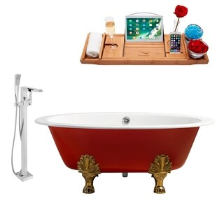 """Faucet and Cast Iron Tub Set 65"""" RH5441GLD-CH-100"""