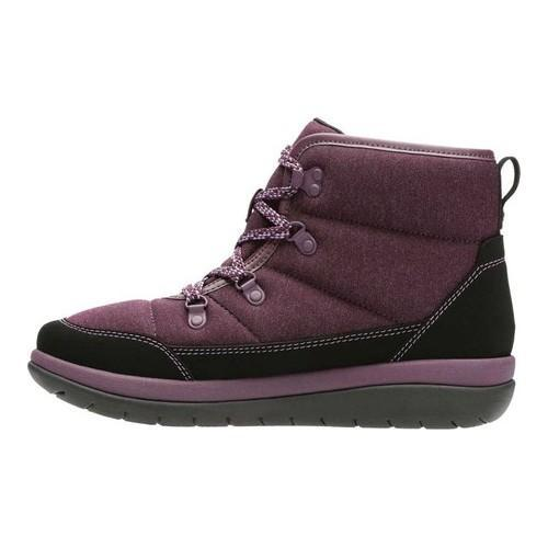 ... Women's Clarks Cabrini Cove Boot Aubergine Heathered Textile/ Synthetic