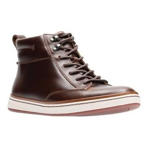 Men's Clarks Norsen Mid High Top Dark Tan Full Grain Leather